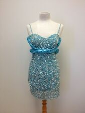 Sherri Hill Mini Beaded Dress Size 4 Aqua Turquoise Prom Homecoming Formal