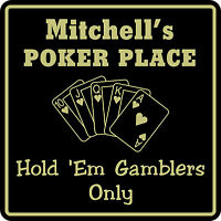 Personalized Poker Game Room Bar Beer Cards Holdem Gift Sign #2 Custom USA Made