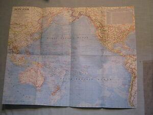 VINTAGE PACIFIC OCEAN + FLOOR  MAP National Geographic October 1969