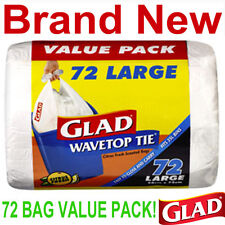 72 Glad 10 Gallon Large Wavetop Tie Trash Bags,Value Pack Garbage Bag,New