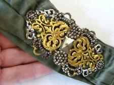 Beautiful Victorian Antique Steel Cut & Brass Filigree BELT BUCKLE w/ Silk Sash