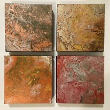 Terrestrial | Set of 4 Metallic Color Abstract original modern acrylic paintings