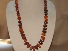"""VTG Graduated Genuine Raw Polished Butterscotch & Cognac Amber Bead Necklace 28"""""""