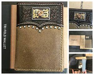 New Ariat mens tri fold concho wallet
