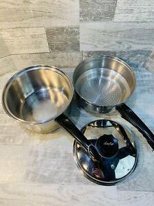 Lustre Craft Pot Multicore 3-Ply Stainless 3 Quart Double Boiler Saucepan w/ Lid
