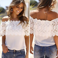 Women Off Shoulder Lace Chiffon T Shirt Summer Beach Party Casual Blouse Top Tee