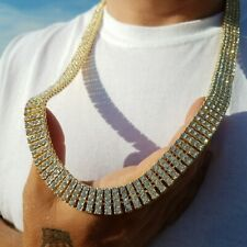 "Hip Hop Gold PT Iced 4 Rows Lab Diamonds 15mm 30"" Pharaoh Chain Fashion Necklace"