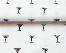 MANHATTAN COCKTAIL cotton fabric Indigo martini glass novelty print craft cherry
