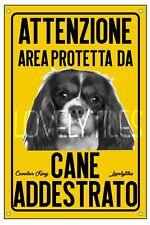 CAVALIER KING AREA PROTETTA TARGA ATTENTI AL CANE CARTELLO PVC GIALLO
