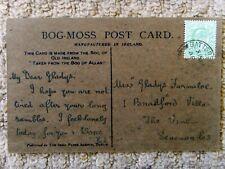 "NOVELTY IRISH MOSS PEAT BOG of ALLEN "" A BIT of IRELAND ANTIQUE 1908 POSTCARD"