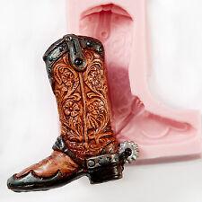 Silicone Cowboy Boot Mold Mould Sugar Cake Decorating Fondant Soap Candle  (927)