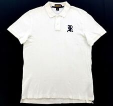 Vintage Rugby Ralph Lauren Gothic R White Polo Short Sleeve Shirt Size XL Mens