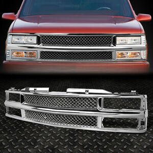 FOR 94-00 CHEVY C10 C/K/TAHOE/BLAZER FRONT BUMPER CHROME ABS MESHED GRILLE GUARD
