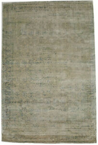 Floral Distressed Green Beige Modern 4X6 Hand-Loomed Area Rug Home Decor Carpet