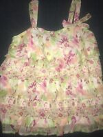 Justice Girls Size 10 Top Shirt Pink Tank Top Sparkle Sequins Layered Ruffles