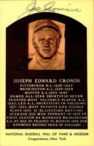 Joe Cronin Signed Baseball HOF Yellow Plaque Autographed Red Sox JSA