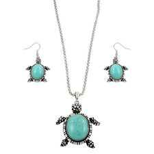 "Sea Turtle Fashionable Gemstone Necklace & Earrings Set - Fish Hook - 16"" Chain"