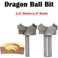"""Utensile da taglio per legno 1/4 """"1/2"""" codolo cilindrico Dragon Ball punta fresa"""