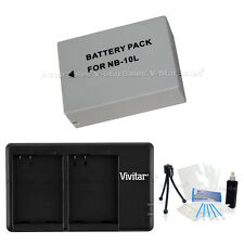 NB-10L Replacement Battery & USB Dual Charger for Canon Powershot G1x SX50 SX40