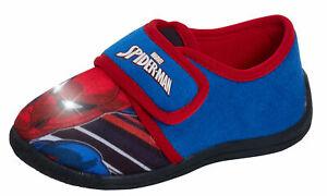 Boys Spiderman Light Up Slippers Kids Marvel Easy Fasten Slip On Flashing Shoes
