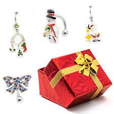 Christmas Belly Button Rings 14g Santa, Christmas Wreath,Snowman,Bow Gift Box