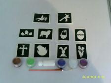 Pascua brillo temática tatuaje conjunto incl. stencils + conejito brillo canasta