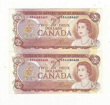 **1974**Canada $2, Crow/Bouey #ARA 6083607/08 ,Seq. Pair BC-47b