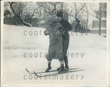 1925 MA Girl Receives Ski Instruction Quebec Press Photo