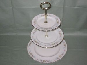 Kirsty Jayne Bone China 3-Tier Hostess Cake Plate Stand Floral Pattern