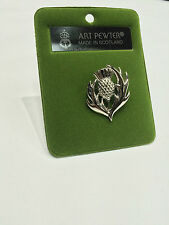 Art Pewter Ladies Authentic Scottish Thistle Design Brooch Made in Scotland New