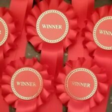 10 X 1 Tier Red Winner Rosettes made with quality single faced satin