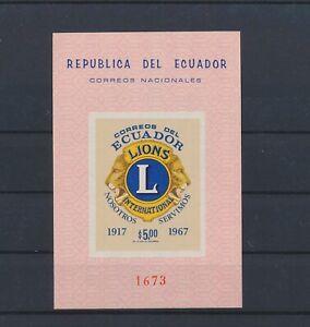 LO40156 Ecuador 1967 anniversary lion's club imperf sheet MNH