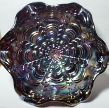 Purple Carnival Glass Peacock Tail Ruffled Edge Pedestal Bowl Compote Footed