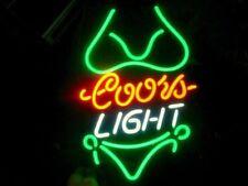 "13""X8"" COORS LIGHT GREEN BIKINI BEER BAR TN IPHONE SEX LAMP CAR NEON LIGHT SIGN"
