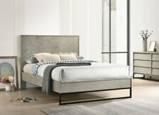 1pc Queen Size Bed Bedroom Furniture Gray Stone Wood Finish Bed Mid Century Look