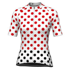 Women's White Polka Dot Short Sleeve Cycling Jersey