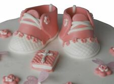 Edible Pink Baby Girl Shoes Set CHRISTENING / Baby Shower Handmade Sugarpaste