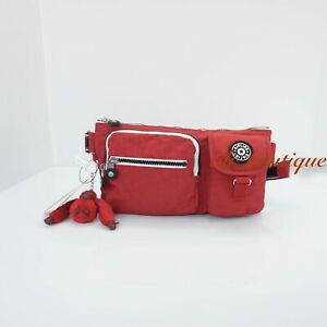 NWT New Kipling KI0299 Presto Fanny Pack Hip Waist Bag Cherry Red Varsity Strap