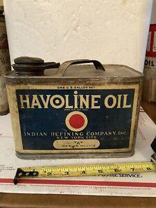 VINTAGE ADVERTISING HAVOLINE MOTOR OIL GALLON TIN CAN INDIAN REFINING COMPANY