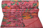 Indian Floral Kantha Quilt Twin Size Bedspread Bedding Blanket Throw Reversible
