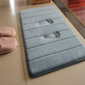 1Pc Memory Foam Floor Mats Non-slip Bathroom Carpet Coral Fleece Rug Floor Decor