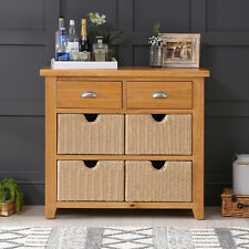 Cheshire Oak 2 Drawer Hall Console Table with 4 Storage Baskets - Sideboard AD42