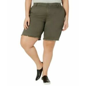 Style & Co Shorts Olive Green Frayed Hem Line Women's Plus Size 20W Mid Rise NWT