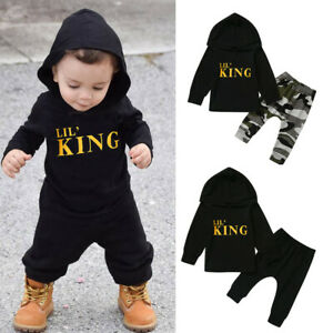 Toddler Kids Baby Boy Letter Hoodie T Shirt Tops+ Camo Pants Outfits Clothes US