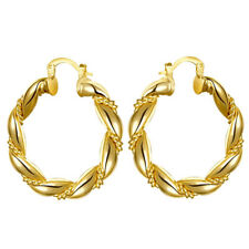 Stunning 9ct Gold Plated Twist Hoop Earrings - 37mm - New - Xmas Gifts