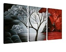 Volcano Nature Painting Cloud Tree Framed Print Art Canvas Wall Picture Drawing