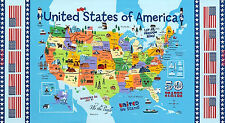"""23"""" COTTON FABRIC PANEL UNITED STATES US MAP SCHOOL EDUCATION 50 STATES CAPITALS"""