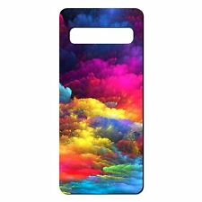 For Samsung Galaxy S10 PLUS Silicone Case Texture Effect Rainbow Clouds - S1534