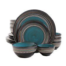 GIBSON ELITE CAFE VERSAILLES 16 PIECE DOUBLE BOWL DISH DINNERWARE SET for 4 BLUE