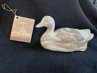 Mt St Helens Ashware Duck Swan Ceramic Signed Paper Tag Vintage 1980s *369